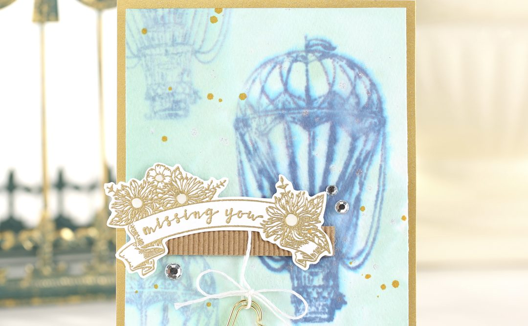 Hot Air Balloon Card with Watercolor and Gold