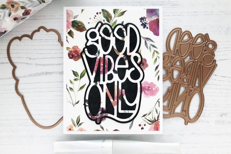 Spellbinders Good Vibes Only collection by Stephanie Low - Inspiration | Washi Tape Cards with Caly featuring: S4-918 Good Vibes Only, S4-871 Feathers in the Wind #spellbinders #diecutting #handmadecard #neverstopmaking