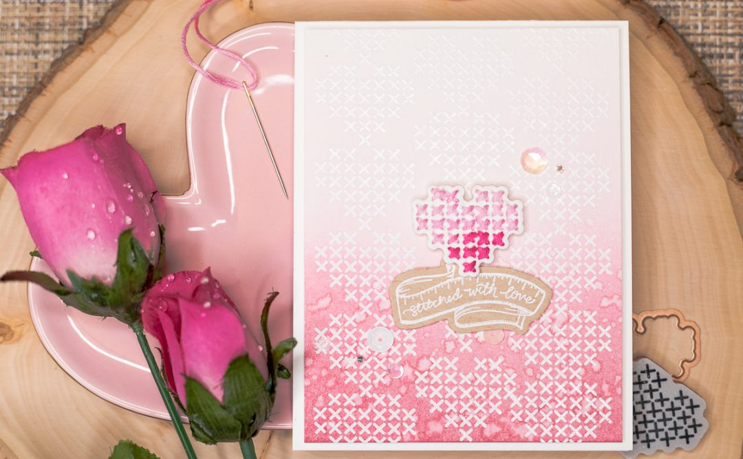 Spellbinders - Handmade Collection by Stephanie Low - Inspiration   Hand Stitched Love Card by Jenny Colacicco #spellbinders #stamping #neverstopmaking