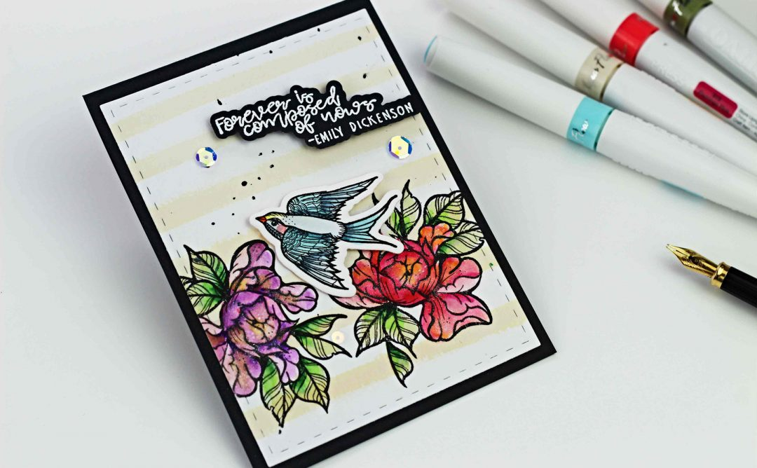 Spellbinders - Inked Messages Collection by Stephanie Low - Inspiration | Floral Card with Bibi Cameron featuring SDS-138 Grow Newer With Me, SDS-144 A Little Birdie Told Me #spellbinders #cardmaking #stamping #diecutting #handmadecard #stephanielow