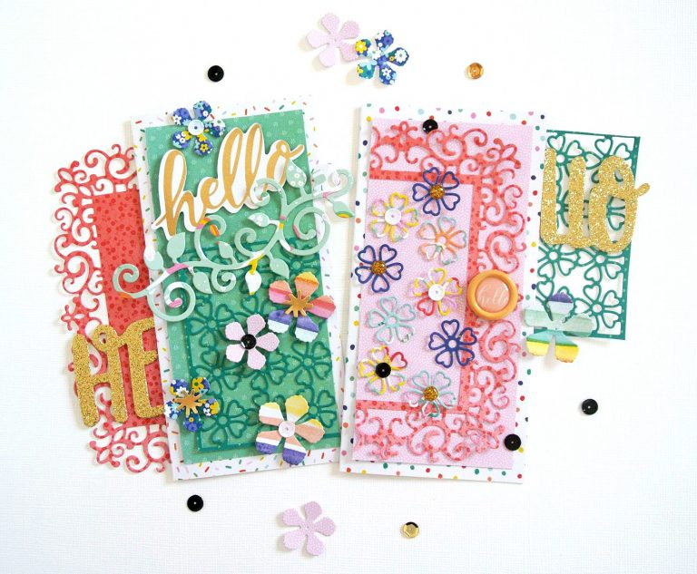 Spellbinders Blooming Garden Collection by Marisa Job | Hello Cards with Elodie featuring S2-296 Swirl Leaf Branch, S3-335 Rose Buds, S5-358 Swirl Happy, Birthday Frame, S6-146 Heart Flower Box #spellbinders #marisajob #diecutting #handmadecard #neverstopmaking #diecut
