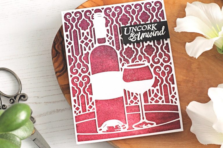 Spellbinders Wine Country collection by Stacey Caron - Inspiration | Uncork & Unwind Card with Michelle Short featuring S5-346 Time for Wine, SDS-135 Barrel of Sentiments,  PE-100 Platinum 6 Die Cutting and Embossing Machine,  T-001 Tool 'N One #spellbinders #diecutting #handmadecard #neverstopmaking