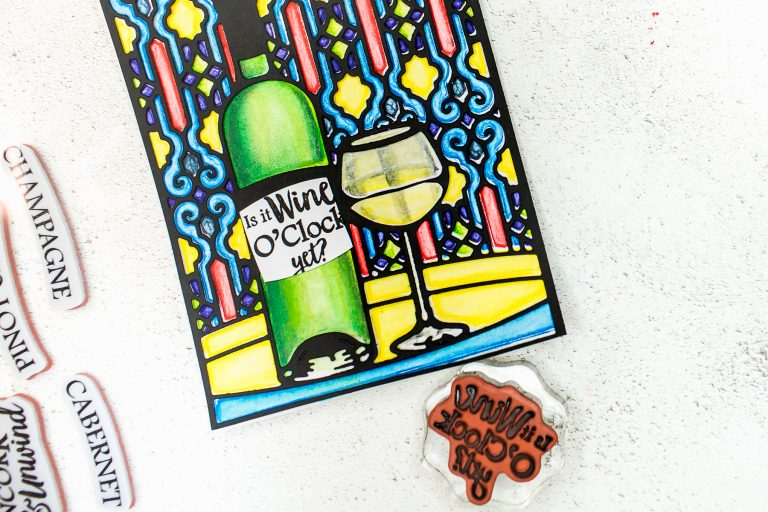 Spellbinders Wine Country Collection Inspiration | Stained Glass Card with Mona Toth featuring S5-346 Time for Wine A2 Card Front, SDS-135 Barrel of Sentiments #spellbinders #diecutting #neverstopmaking