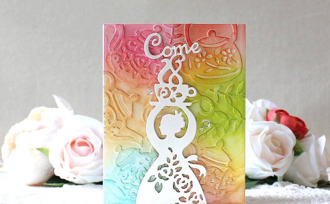 Spellbinders Cuppa Coffee, Cuppa Tea Collection by Sharyn Sowell - Inspiration | Coffee Woman Card with Yoonsun Hur featuring S4-953 Tea Pots, S4-951 Coffee Woman, S3-345 But First Coffee dies #neverstopmaking #diecutting #sharynsowell #cardmaking #handmadecard #coffeecard