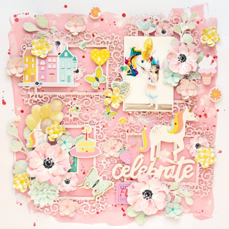 Spellbinders Blooming Garden Collection by Marisa Job - Inspiration | Romantic and Whimsical Layout with Anna featuring S3-335 Rose Buds, S5-358 Swirl Happy Birthday Frame #spellbinders #scrapbooking #neverstopmaking #diecutting #papercrafting
