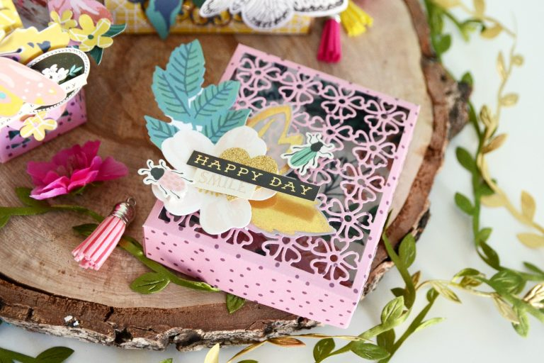 Spellbinders Blooming Garden Collection by Marisa Job | Romantic Gift Set with Anna featuring S6-146 Heart Flower Box, S6-147 Swirl Hexagon Petal Box, S4-917 Swirl Lattice Panel #spellbinders #neverstopmaking #diecutting #handmade #papercrafting