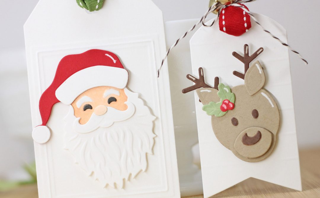 Spellbinders Die D-Lites Holiday Inspiration | Clean and Simple Christmas Tags with Laurie Willison featuring S3-359 Santa S3-358 Reindeer S3-361 Christmas Tree S3-360 Snowman S4-132 Classic Rectangle #spellbinders #christmastags #neverstopmaking