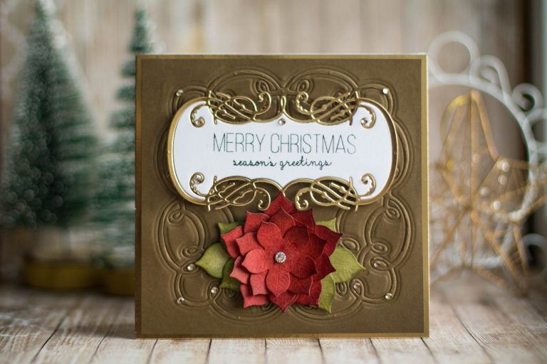 Spellbinders A Charming Christmas Collection by Becca Feeken - Inspiration | Embossed Christmas Card with Elena Salo featuring S4-948 Charming Christmas Boughs, SDS-164 Sentimental Christmas, S4-960 Cinch and Go Poinsettia #spellbinders #neverstopmaking #amazingpapergrace