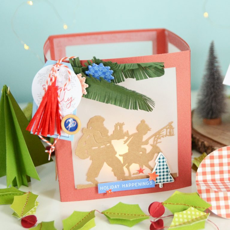 Spellbinders A Sweet Christmas Collection by Sharyn Sowell - Inspiration   Christmas Lanterns and Cards with Anna featuring S4-937 Hanging Stockings, S4-941 From Our Home To Yours, S4-936 Lighting The Way, S5-373 Santa Parade #spellbinders #neverstopmaking #diecutting #sharynsowell #christmaslantern