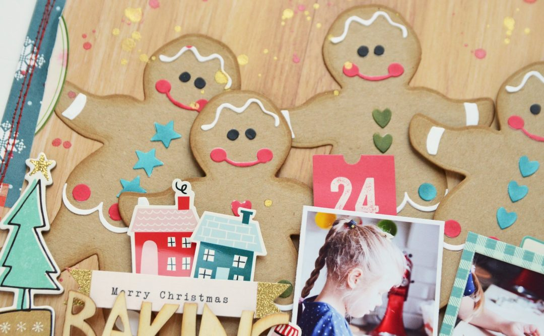 Spellbinders A Sweet Christmas Collection by Saharan Sowell - Inspiration | Baking Cookies Layout with Anna featuring S4-940 Gingerbread Boy Garland Tag #spellbinders #diecutting #neverstopmaking #sharynsowell