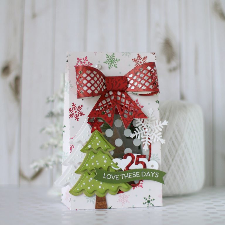 Spellbinders Die D-Lites Holiday Inspiration | Treat Bag with Anya Lunchenko featuring S3-361 Christmas Tree, S6-048 Tiered Multiloop Bows, S3-302 Snowflakes, S4-943 Happy Birthday w/Numbers #spellbinders #christmastreatbox #diecutting #neverstopmaking