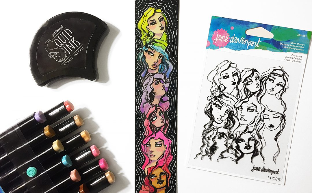 Spellbinders Jane Davenport Artomology | Creating Quick and Colorful Bookmark with Kimball Davis featuring JDS-015 Girl Group, JD-037 Squid Ink Cave Black, JD-024 Smooth Markers - Feathered Friends, JD-025 - Sooth Markers - Mermesmerizing #janedavenport #janedavenportartomology #Artomology #spellbinders #neverstopmaking #smoothmarkers #makeitwithmichaels #bookmark #DIY