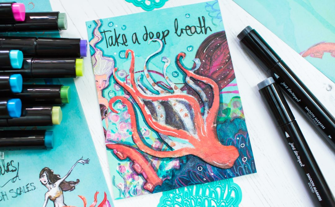 Jane Davenport Artomology | Take a Deep Breath Mixed Media Card with Mona Toth