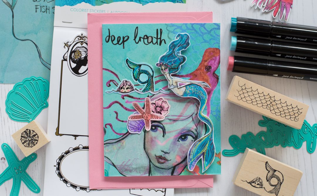Jane Davenport Artomology | Deep Breath Mixed Media Card with Flóra Mónika Farkas