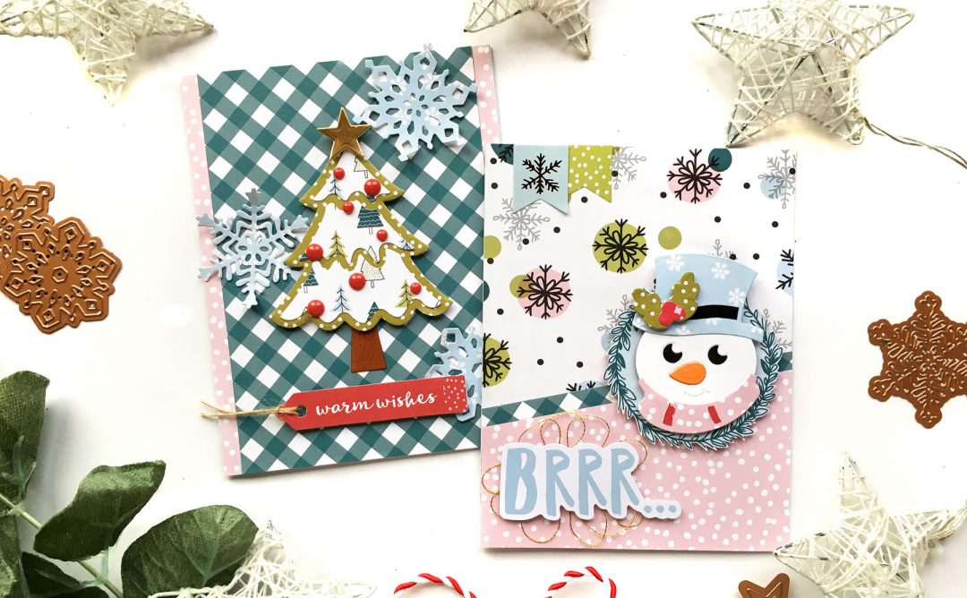Spellbinders Die D-Lites Holiday Inspiration | More Christmas Cards with Enza Gudor featuring S3-361 Christmas Tree, S3-362 Snowflakes, S3-360 Snowman dies #spellbinders #neverstopmaking #diecutting
