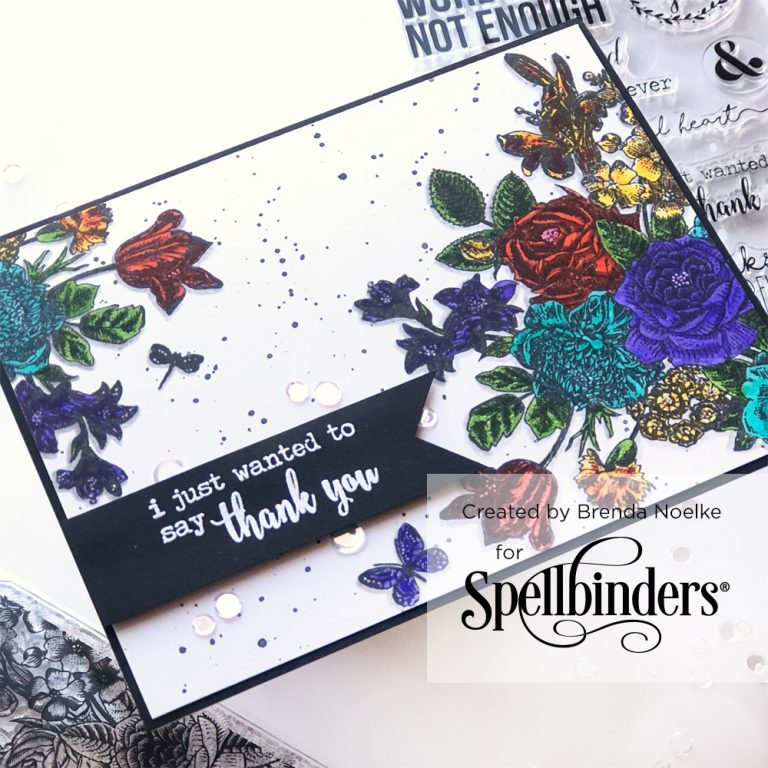 Spellbinders NEW Clear Stamps | Gratitude Card with Brenda Noelke #spellbinders #neverstopmaking
