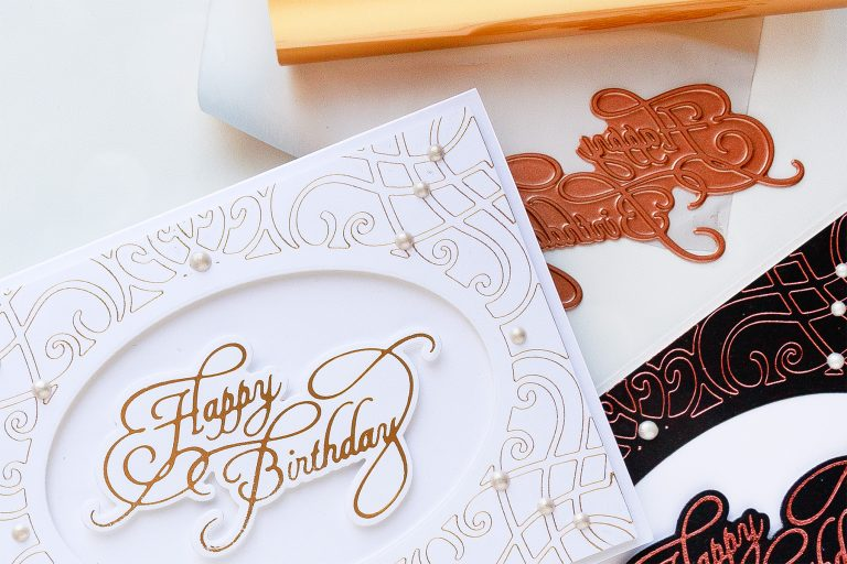Spellbinders Glimmer Hot Foil System | Birthday Hot Foil Card Ideas. Video tutorial #spellbinders #glimmerhotfoilsystem #neverstopmaking