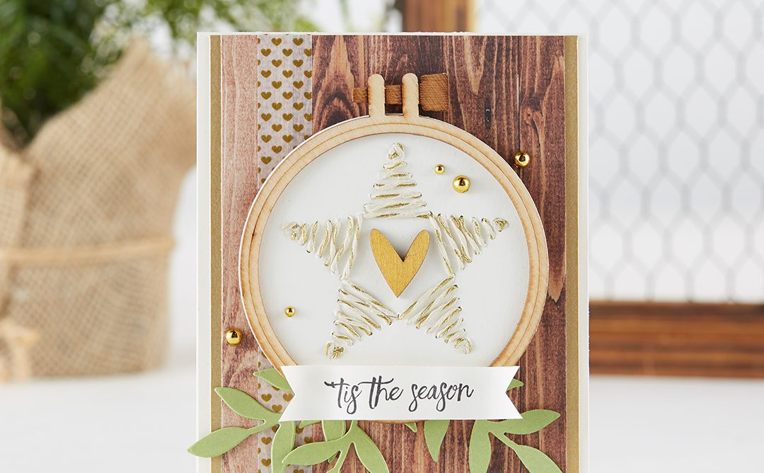 'Tis The Season Christmas Card with Piercing and Stitching