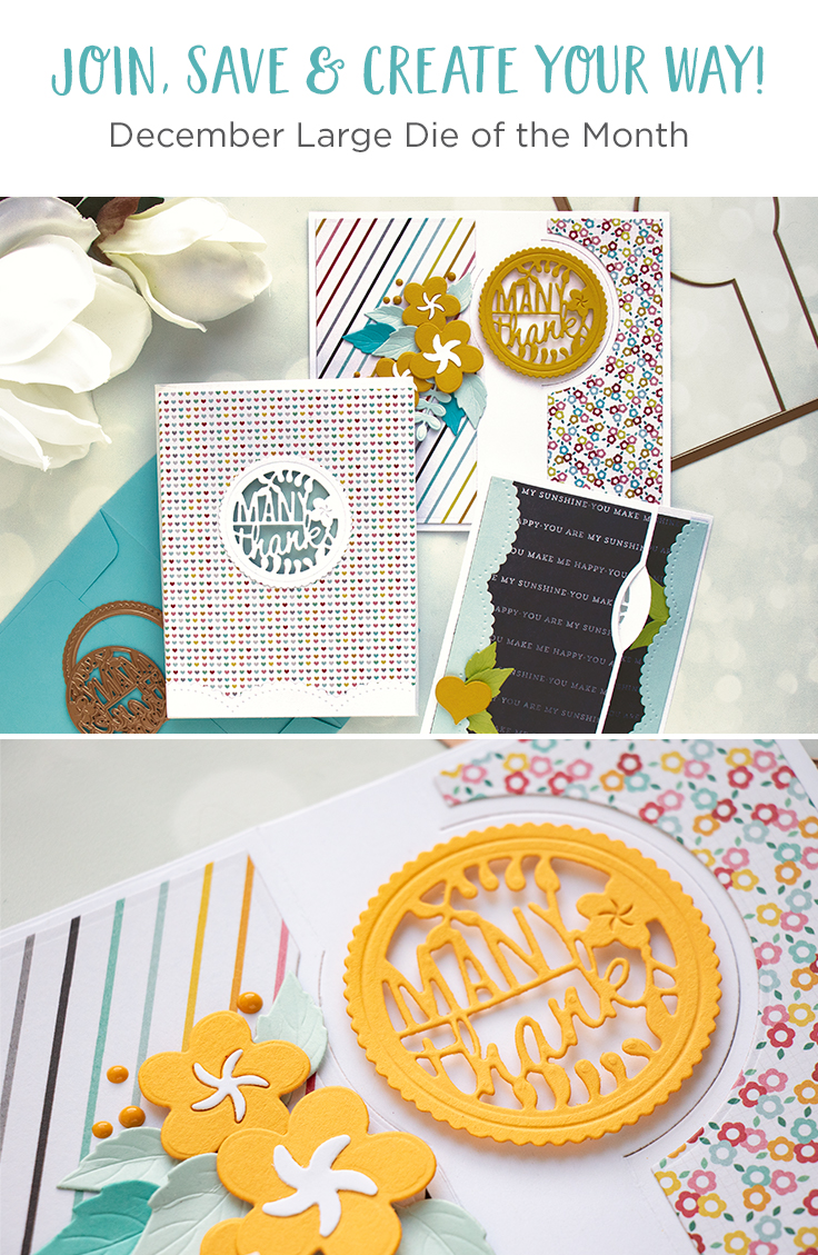 Spellbinders December Large Die of the Month is Here – Many Thanks Gatefold! Many Thanks Handmade Card