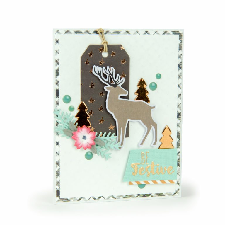Spellbinders December 2018 Card Kit of the Month – Winter Wishes! Warm Be Festive Card.