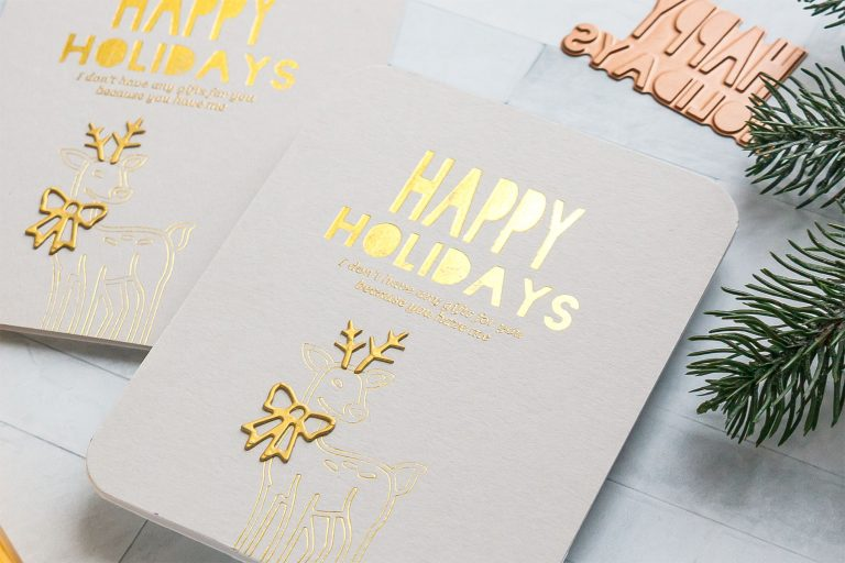 Happy Holidays hot foil card by Yana Smakula for Spellbinders