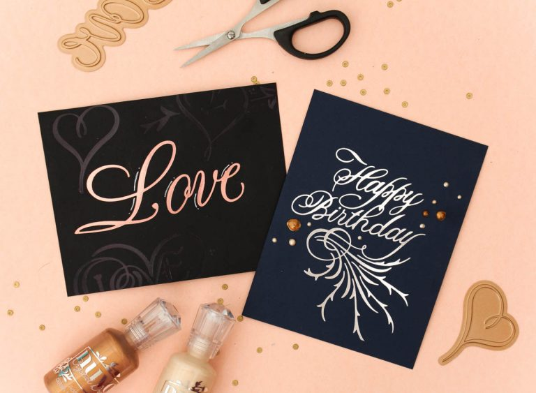 Paul Antonio Glimmer Plates Inspiration | One Layer Love & Happy Birthday Cards with Zinia for Spellbinders