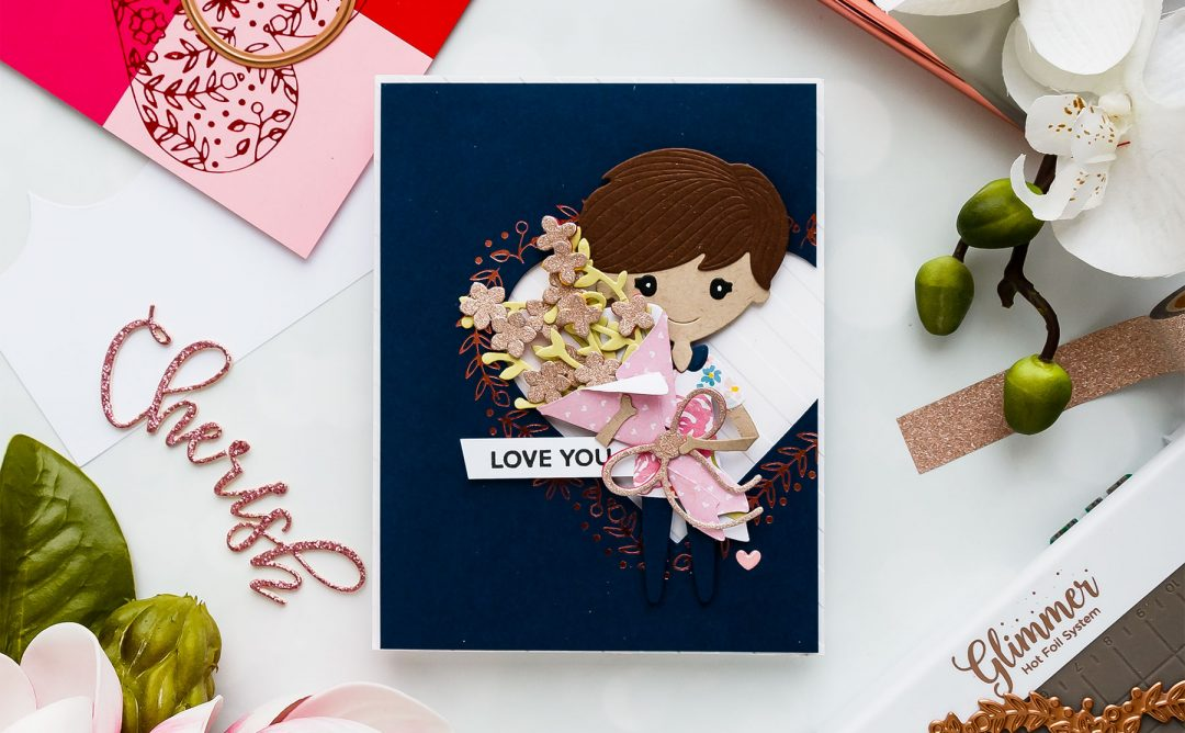 Valentine's Day Card with January Small, Large Dies  & Glimmer Hot Foil Kit of the Month
