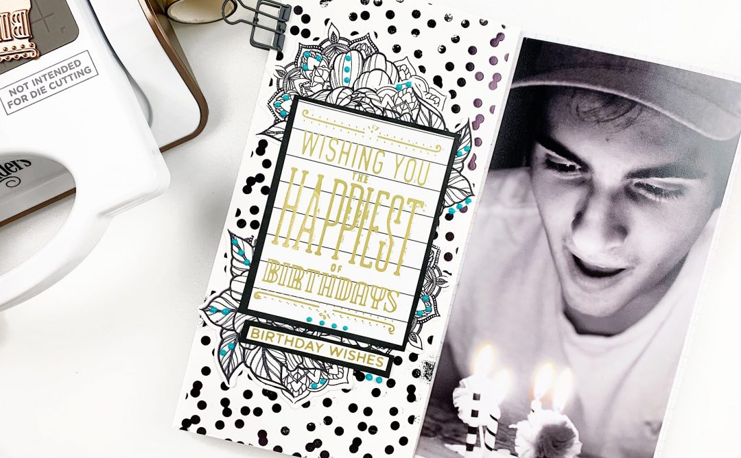 Video: Glimmer Hot Foil Inspiration   Happy Birthday Journal Spread by Heba Alsibai for Spellbinders