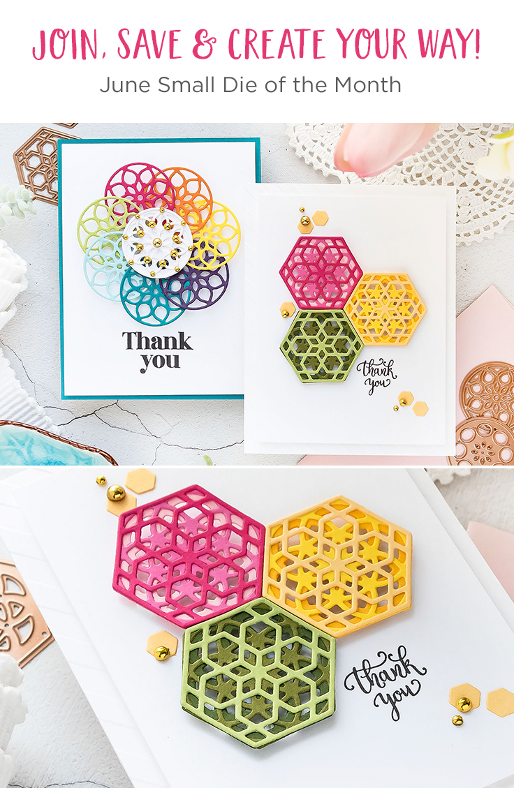 Spellbinders June 2019 Small Die of the Month is Here – Kaleidoscope Trio. This die set features 10 die templates that are ideal to create little layered accents or even full card backgrounds! Just pick the right color of paper and die-cut away!