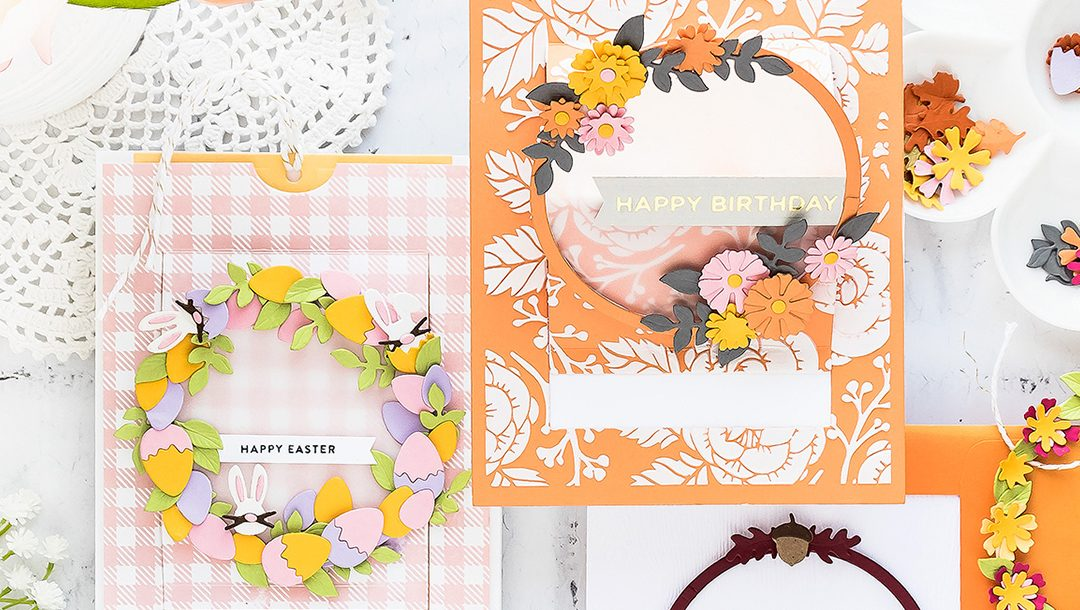 Spellbinders June 2019 Large Die of the Month is Here – Festive Wreath Slider Card. This die set features 21 dies that are perfect for creating seasonal slider pop-up cards and more!