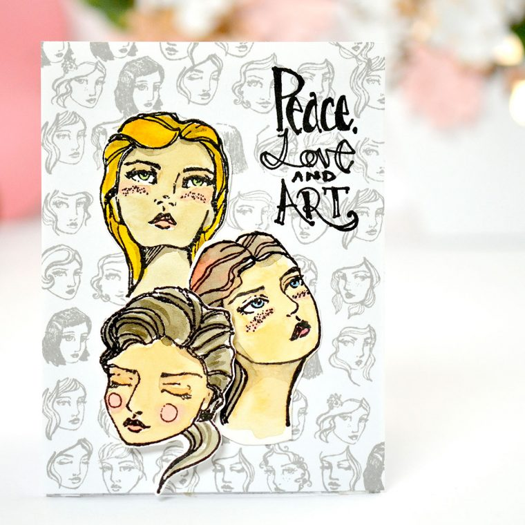 Peace, Love & Art Clean & Simple stamped card by Mayline Jung for Spellbinders using Jane Davenport NEW Artomology Collection