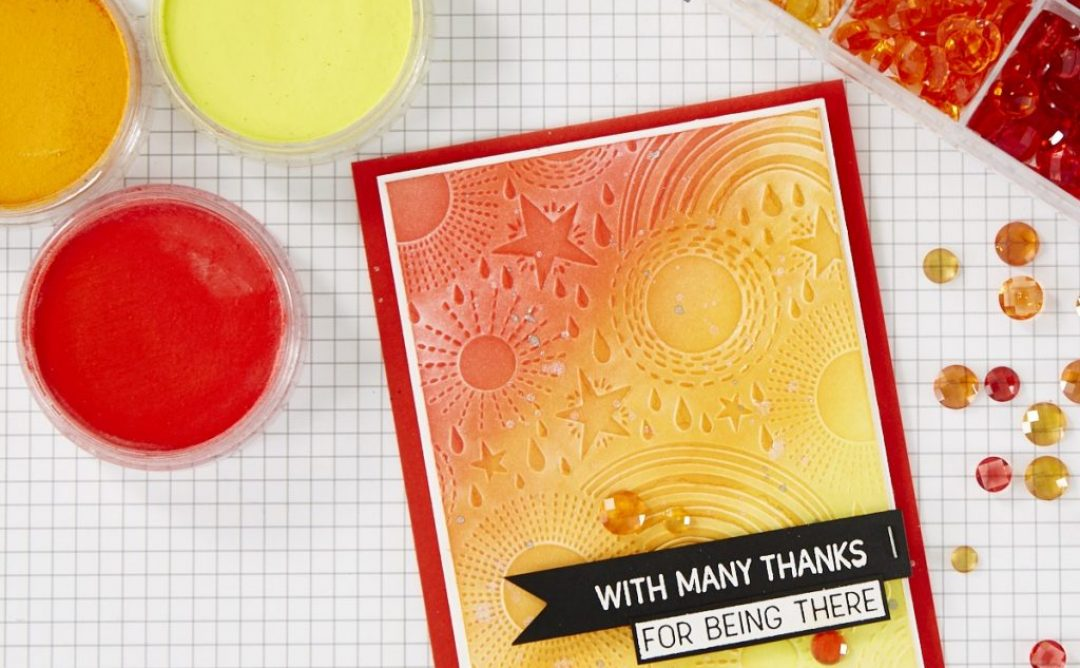 Color an Embossed Ombre Background with PanPastels