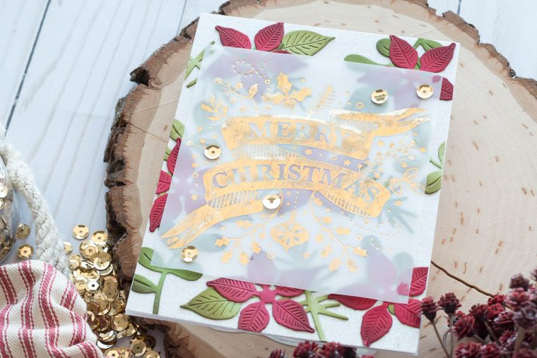 Spellbinders Holiday 2019 Inspiration | Foiled Christmas Cards with Marie. Merry Christmas handmade card featuring GLP-114 Merry Christmas Banner Glimmer Plate and GLP-100 Ornament Glimmer Set