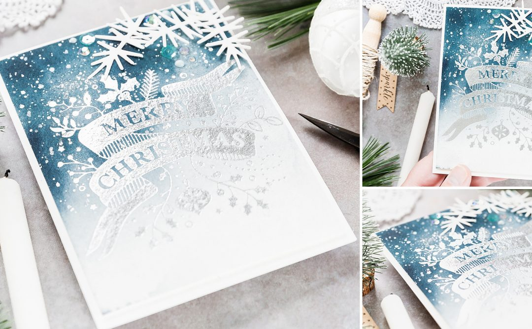 Video: Foiled Watercoloured Christmas Card with Debby Hughes for Spellbinders featuring Merry Christmas Banner Glimmer Hot Foil Plate Holiday 2019